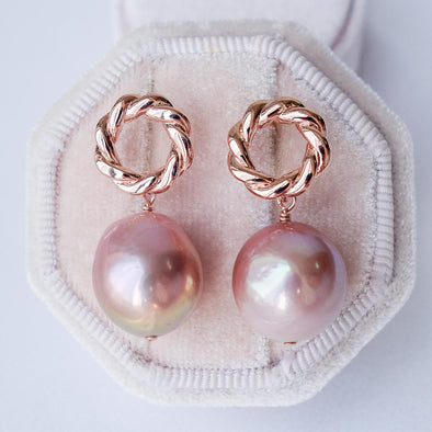 Twisted Circle Ear Studs with Blush Baroque Pearls - FP27
