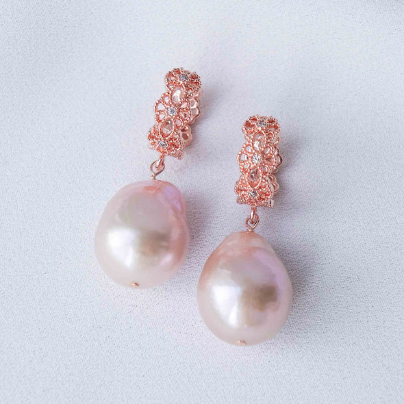 Intricate Ear Hoops with Blush Baroque Pearls - FP45