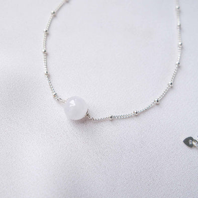 Floating Snow Jade Necklace - Ball Chain
