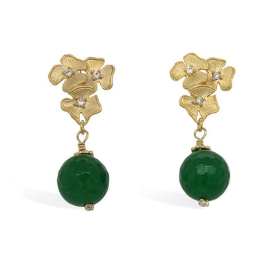 Floral Cluster Ear Studs with Green Onyx