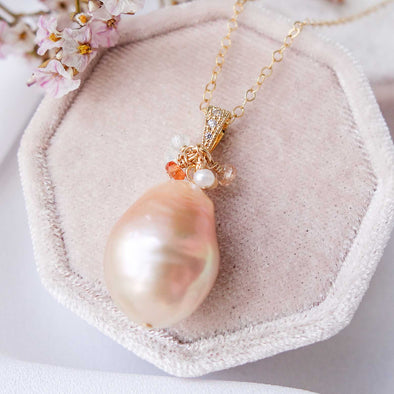 Baroque Pearl Necklace with Gem Cluster - G14