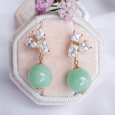 Geometric Cluster Earrings with Green Jade