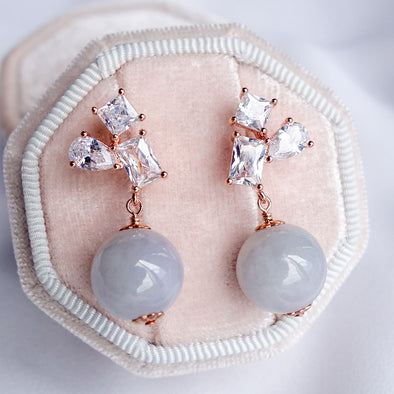 Geometric Cluster Earrings with Lavender Jade