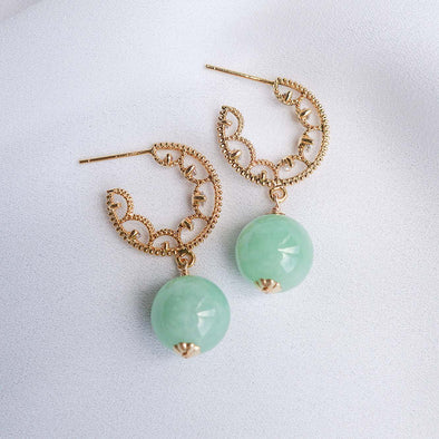 Glitzy Hoop Earrings with Green Jade