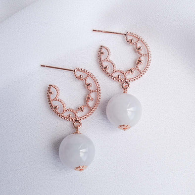 Glitzy Hoop Earrings with Lavender Jade