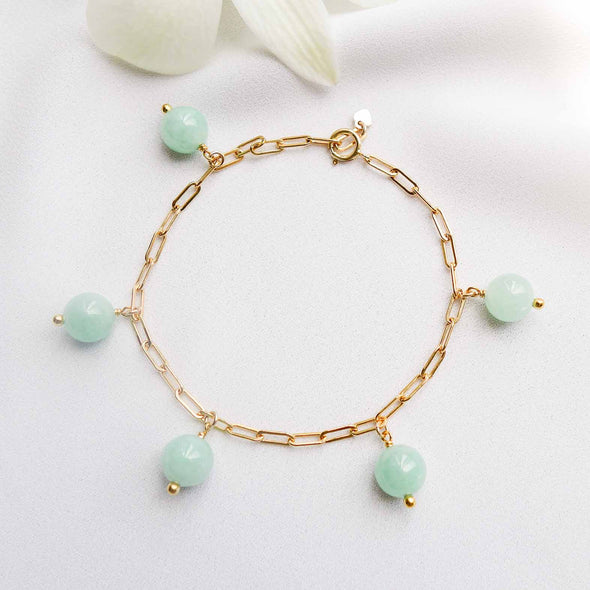 Green Jade Bead Paperclip Bracelet - Gold Filled