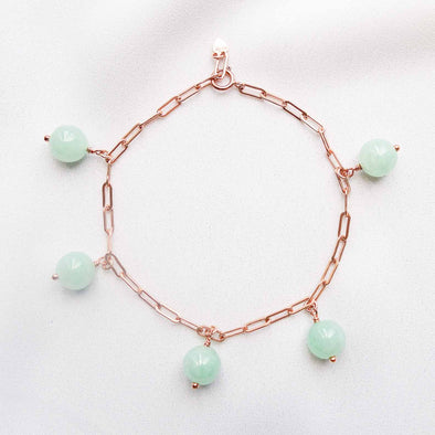 Green Jade Bead Paperclip Bracelet - Rose Gold Filled
