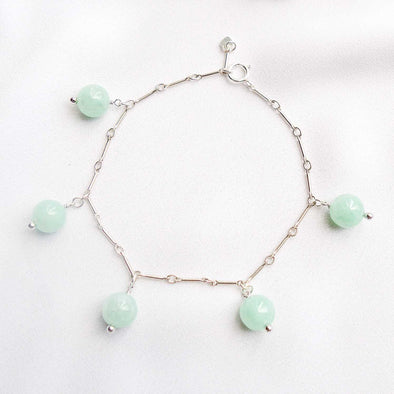 Green Jade Bead Bar Bracelet - Silver