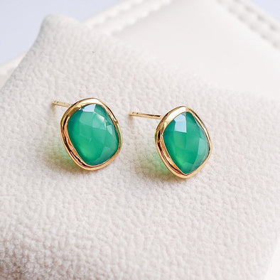 Green Onyx Gold Ear Studs