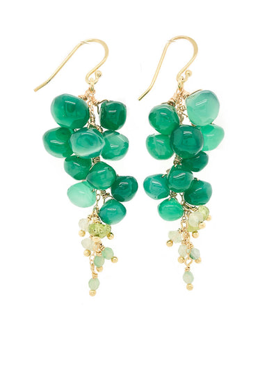 Green Onyx Nugget Cluster Hook Earrings