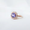 Halo Tanzanite Ring with Sapphires - HTR650R