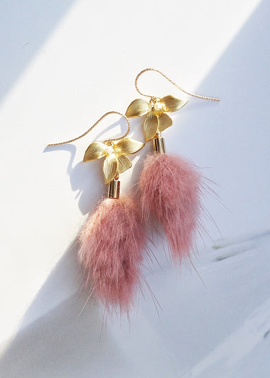 Floral Pearl and Mink Tassel Earrings