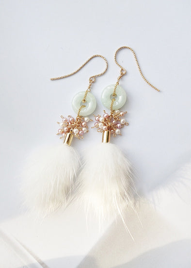 Jade with Pearl Cluster and Mink Tassel Earrings