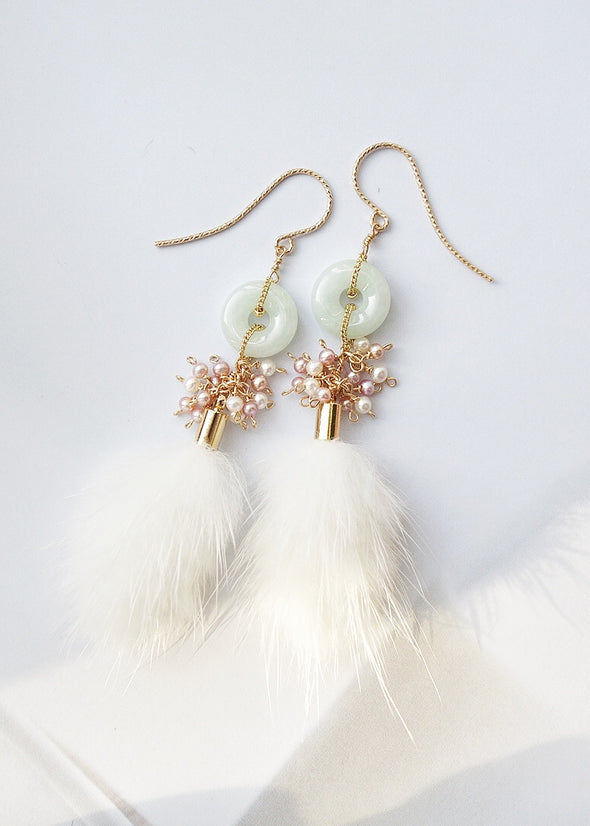 Jade with Pearl Cluster and Faux Mink Tassel Earrings