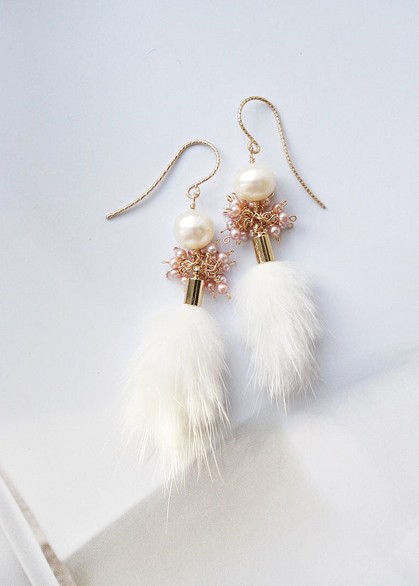 Pearl and Faux Mink Tassel Earrings