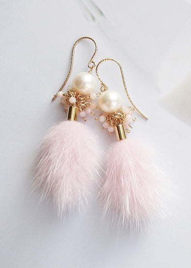 Pearl with Pink Opal Cluster and Faux Mink Tassel Earrings