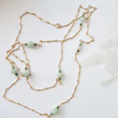 Jade and African Turquoise Long Necklace