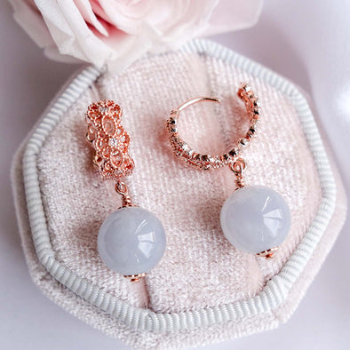 Intricate Ear Hoops with Lavender Jade