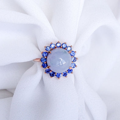 Lavender Jade with Blue Sapphire Halo Ring in 14K Rose Gold - JHR4R85