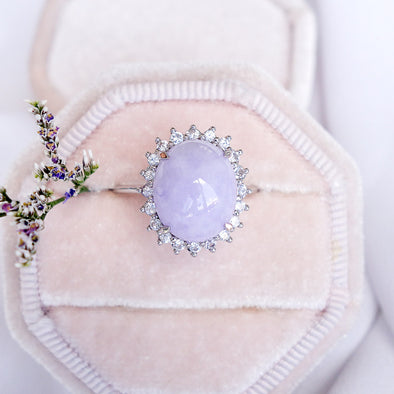 Lavender Jade with Sapphire Halo Ring in 14K White Gold - JHR4R86