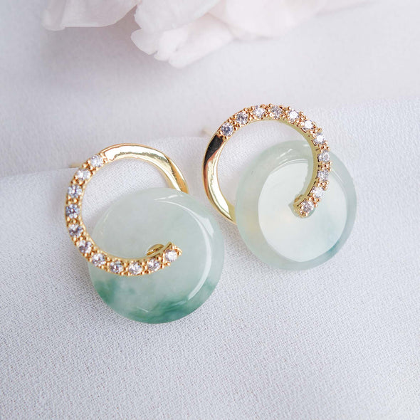 Cross Loop Jade Ear Studs JJG13