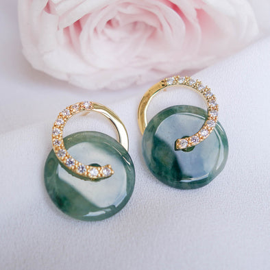 Cross Loop Jade Ear Studs JJG14