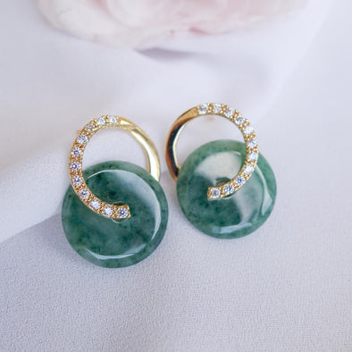 Cross Loop Jade Ear Studs JJG20