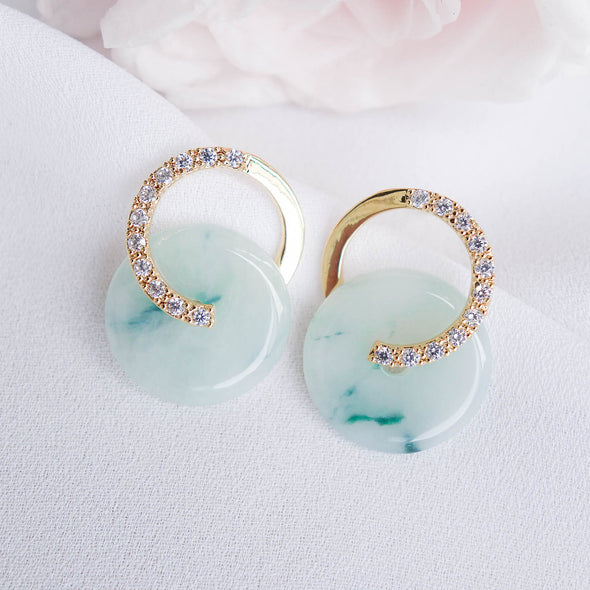 Cross Loop Jade Ear Studs JJG3