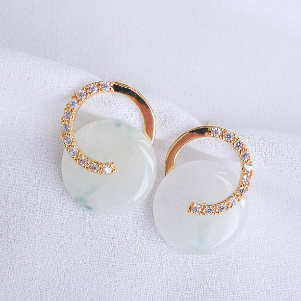 Cross Loop Jade Ear Studs JJG8