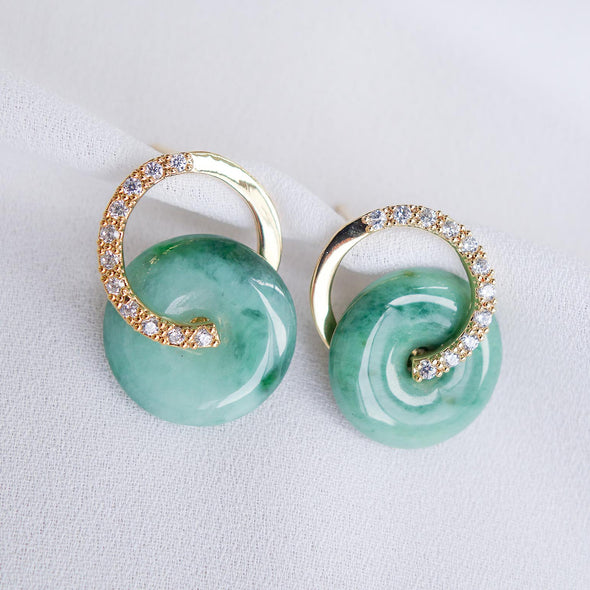 Cross Loop Jade Ear Studs JJG9