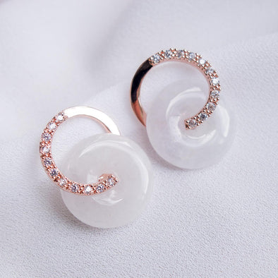 Cross Loop Jade Ear Studs JJRG21