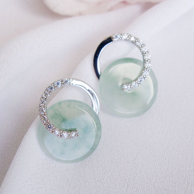 Cross Loop Jade Ear Studs JJS15