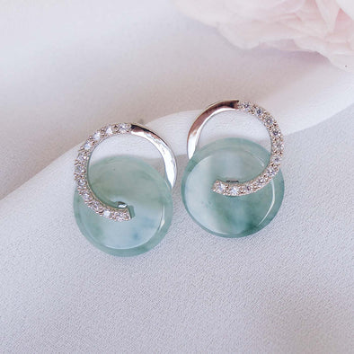 Cross Loop Jade Ear Studs JJS18