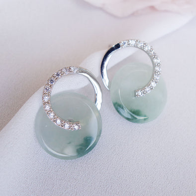 Cross Loop Jade Ear Studs JJS19