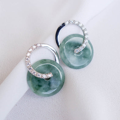 Cross Loop Jade Ear Studs JJS1
