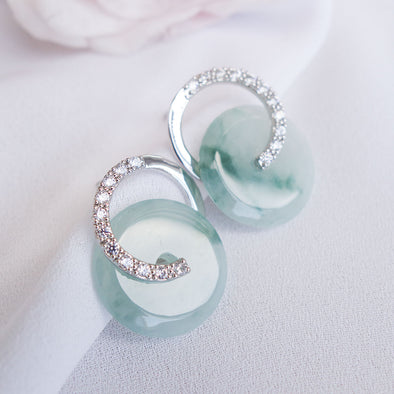 Cross Loop Jade Ear Studs JJS3