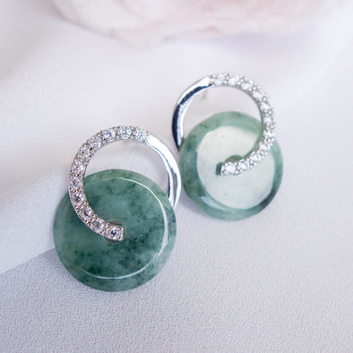 Cross Loop Jade Ear Studs JJS4