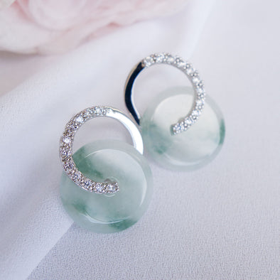 Cross Loop Jade Ear Studs JJS6
