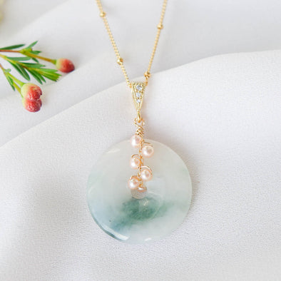 Unique Jade with Peach Pearl Vine Necklace JN13