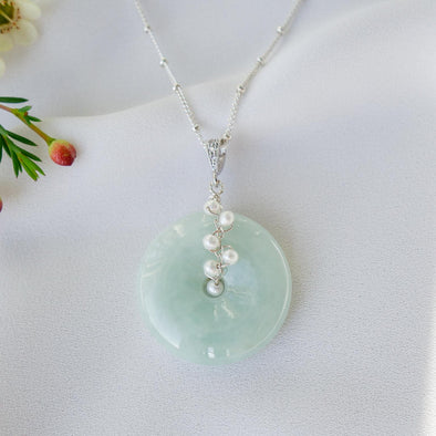 Jade with White Pearl Vine Necklace JN1
