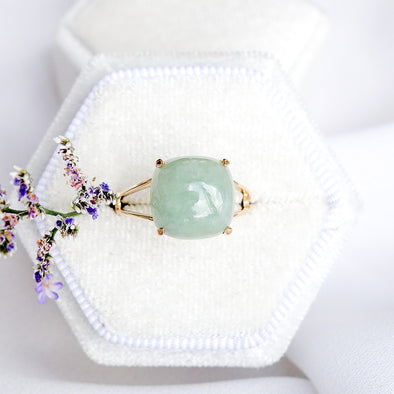 Jade Cabochon Ring - 14K Yellow Gold