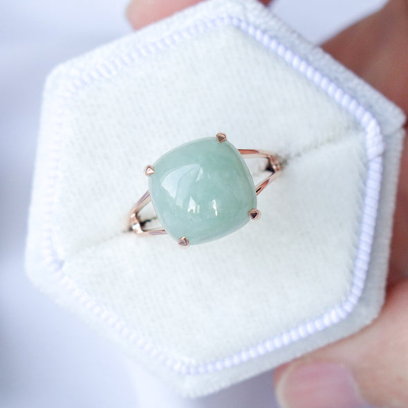 Jade Cabochon Ring - 14K Rose Gold