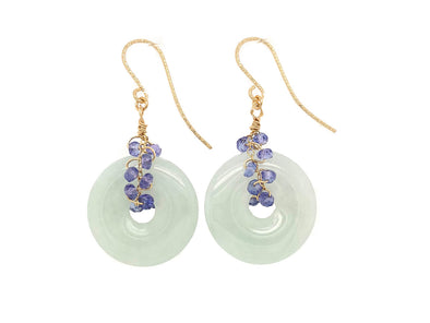 Jade with Tanzanite Vine Earrings