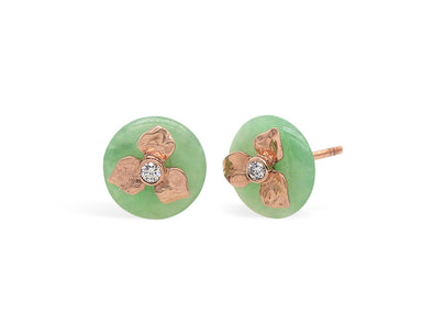 Floral Jade and Diamond Ear Studs