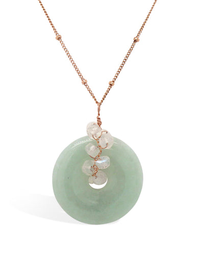 Jade with Moonstone Vine Necklace