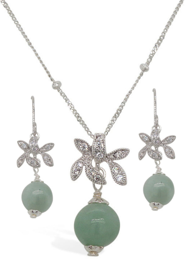 Jade with Sparkling Orchid Earrings and Necklace Set