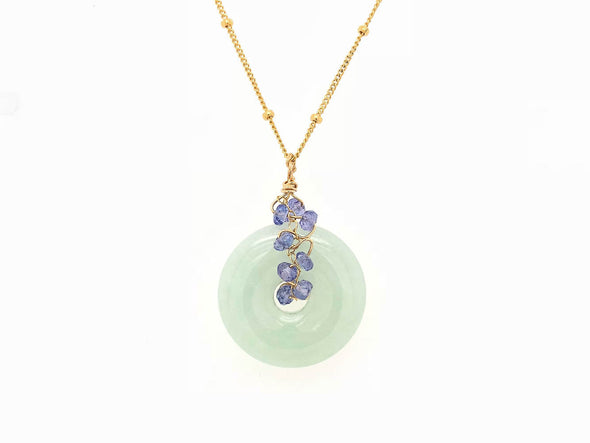 Jade with Tanzanite Vine Necklace