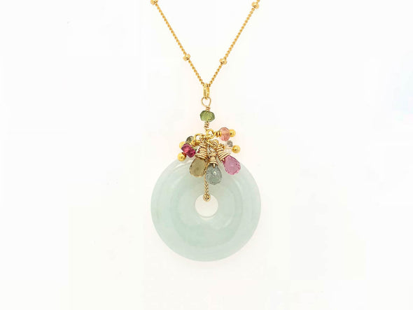 Jade with Tourmaline Cluster Necklace - 14K Gold Filled