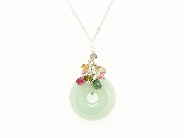 Jade with Tourmaline Cluster Necklace - Sterling Silver