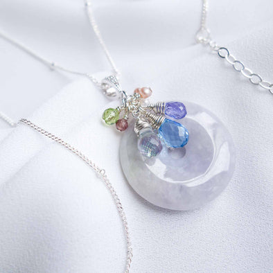 Lavender Jade Necklace with Blue Gem Cluster - Sterling Silver Ball Chain